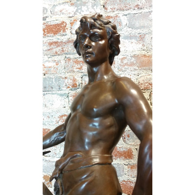 Brown Antoine Bofill -Warrior W/Sword & Shield-19th C. French Bronze Sculpture For Sale - Image 8 of 10