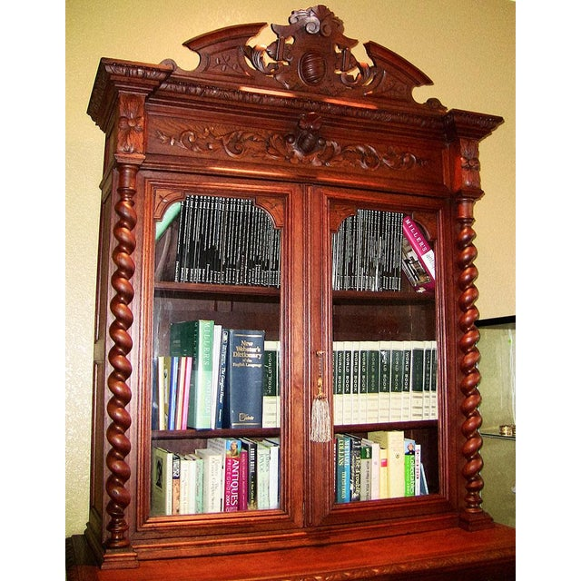 Wood Early 19th Century French Provincial Highly Carved Oak Bookcase For Sale - Image 7 of 13