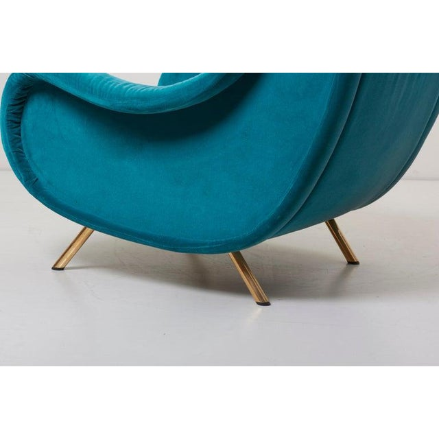 Arflex Senior Lounge Chair in Blue Velvet by Marco Zanuso for Arflex, Italy, 1955 For Sale - Image 4 of 7