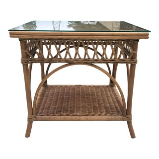 Boho Chic Wicker and Rattan Side Table With Glass Top For Sale