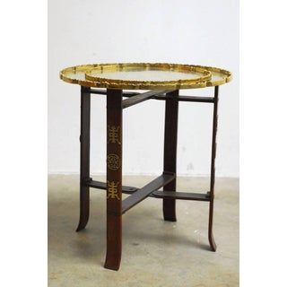 Asian Folding Brass Tea Tray Table or Drinks Table Preview