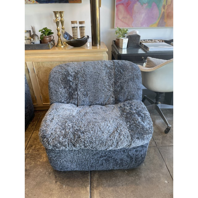 Reupholstered Curly Shearling Swivel Chair - 2 Available For Sale - Image 4 of 10