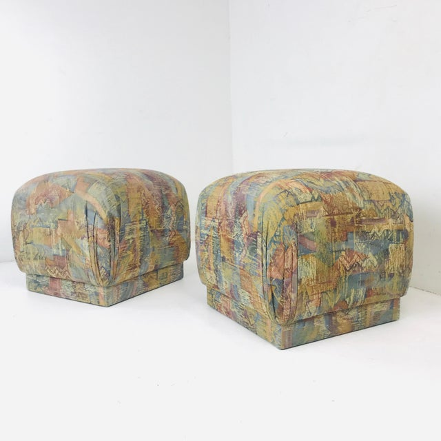Mid-Century Modern Pair of Pouf Ottomans With Plinth Base For Sale - Image 3 of 12