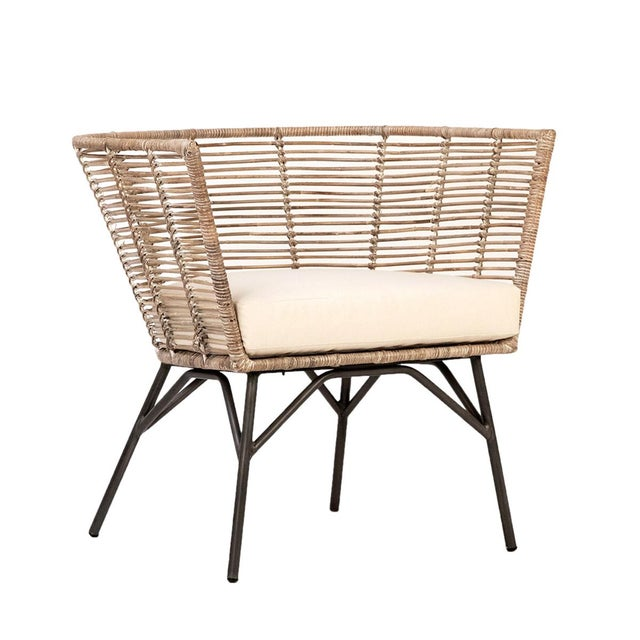 Boho Chic Modern Rattan & Iron Chair For Sale - Image 3 of 3