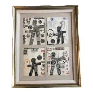"Original Wayne Cunningham (Listed) Mixed Media Collage ""Les Saltimbanques"" Series For Sale"