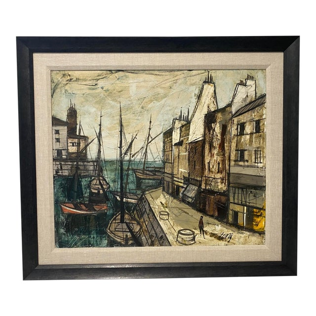 Mid-Century Modern Charles Levier Painting of French Port Scene With Boats For Sale