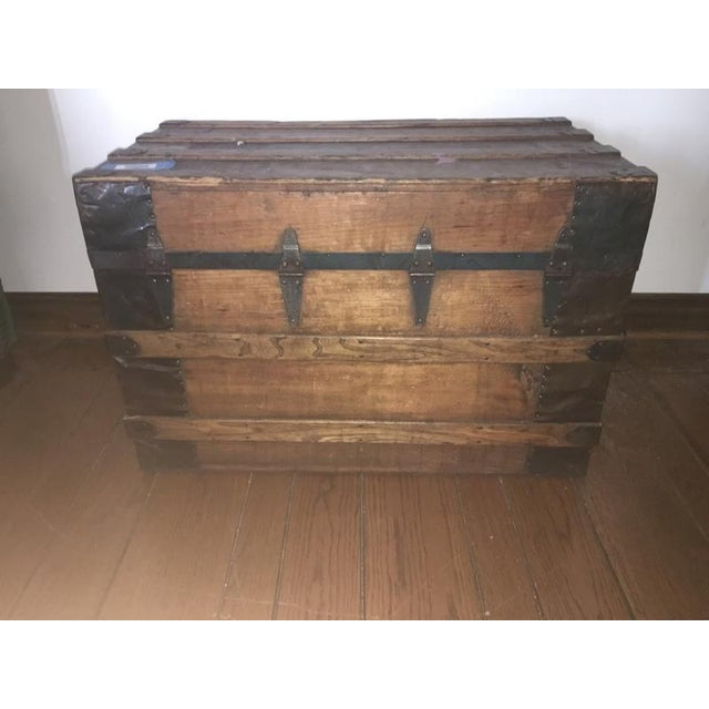 Antique Carved & Slatted Wood Steamer Trunk - Image 4 of 4