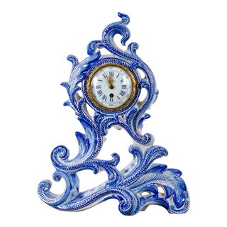 Late 19th Century Emile Gallé Rococo Faience Mantle Clock For Sale