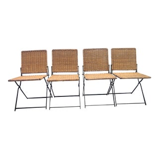Early 20th Century Vintage Metal & Cane Folding Chairs- Set of 4 For Sale
