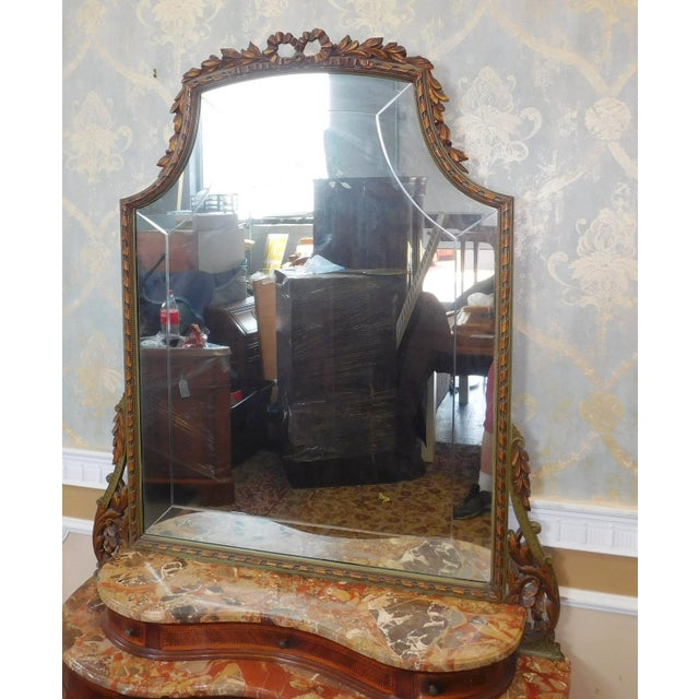 Fine 1920s French inlaid & Banded Mahogany Marble Top Bedroom Dressing Table Vanity w/ Mirror - Image 6 of 11
