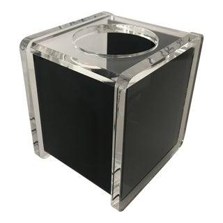 Vintage Mid-Century Modern Lucite Acrylic Black Tissue Box Holder For Sale