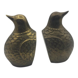Brass Quail Bookends - A Pair