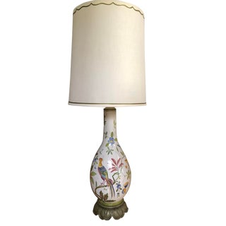 Vintage Italian Ceramic Lamp by Marbro with Shade For Sale