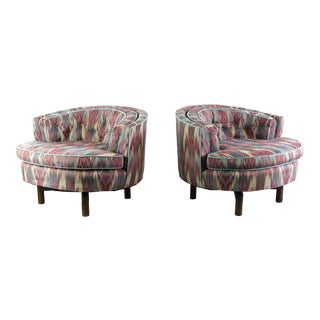 Pair of Swivel Tub Chairs in Original Flame Stitch by Milo Baughman For Sale