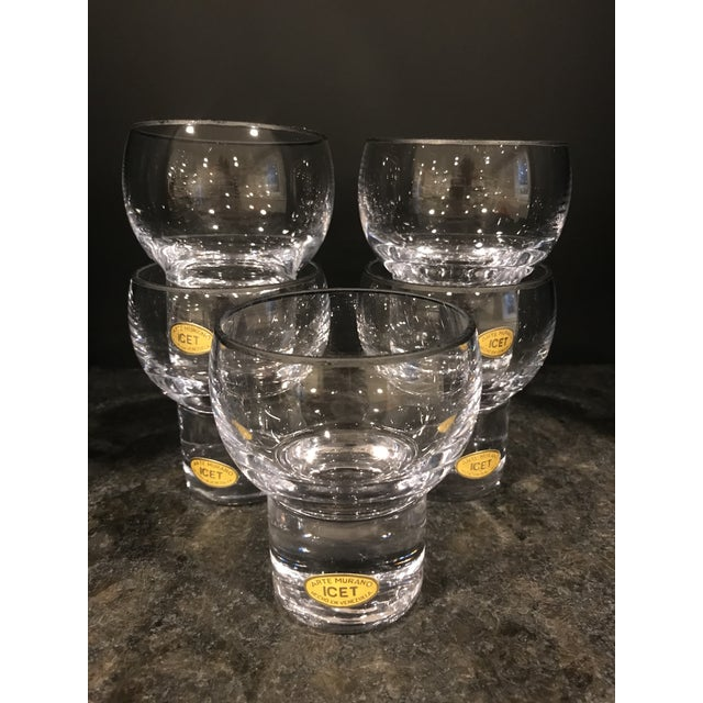 Mid 20th Century Vintage Icet Arte Murano Clear Rocks Glasses - Set of 5 For Sale - Image 5 of 6