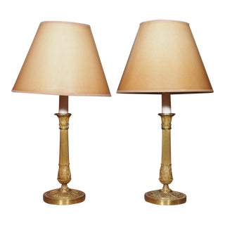 19th Century French Pair of Bronze Dore Lamps