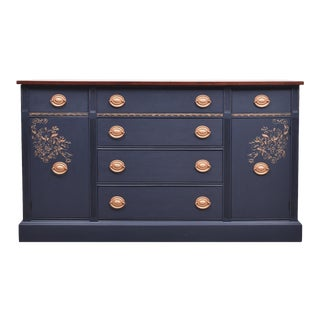 Coastal Blue Mahogany and Copper Buffet Credenza Sideboard For Sale