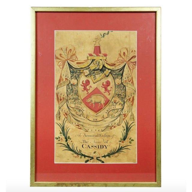Red Framed Coat of Arms for Cassidy For Sale - Image 8 of 8
