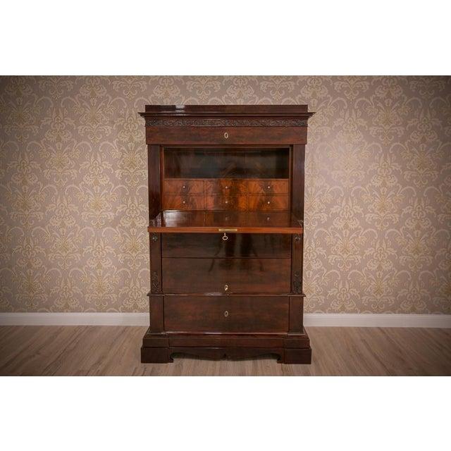 Biedermeier Mahogany Secretary Desk, circa 1860, after Renovation For Sale - Image 4 of 9