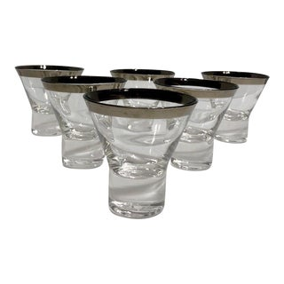 Vintage Mid-Century Modern Silver Rim Thick Bottom Glasses - Set of 6 For Sale
