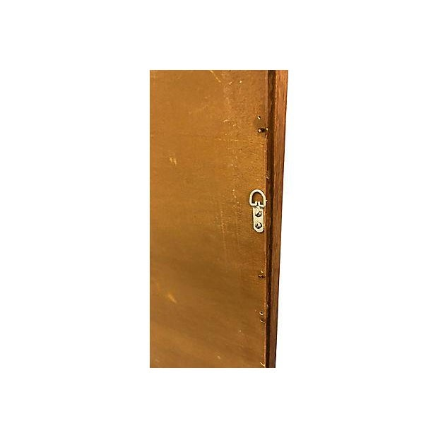 Glass Drexel Compass Pecan Wood Wall Mirror For Sale - Image 7 of 8