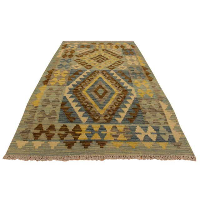 Contemporary Contemporary Tribal Roseann Blue/Gray Hand-Woven Kilim Wool Rug -2'8 X 4'1 For Sale - Image 3 of 8