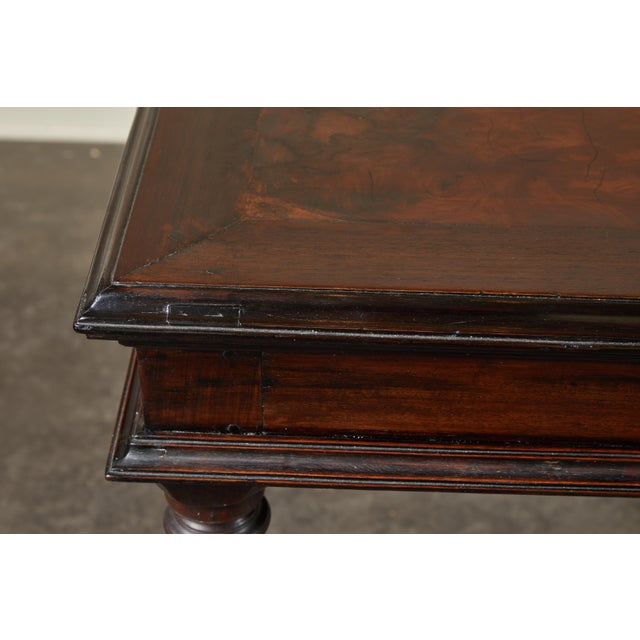 19th C French Colonial Desk With Burlwood Center Top For Sale - Image 10 of 11