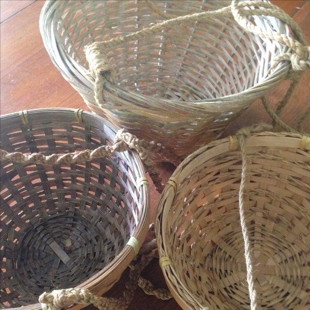 Vintage Hanging Wicker Baskets - Set of 3 - Image 10 of 11