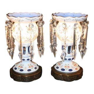 Antique Bohemian Cased Blue Glass & Crystal Lustre Table Lamps - a Pair