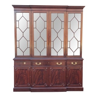 Fine Mahogany Kittinger Furniture Richmond Hill Collection Breakfront China Cabinet For Sale