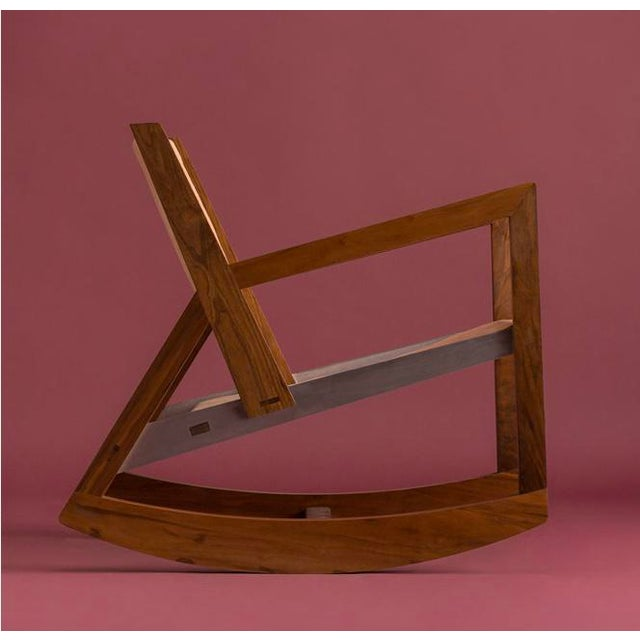 Modern Modern Rocking Chair in Parota Solid Wood and Tan Genuine Leather For Sale - Image 3 of 5