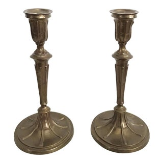 1960s Large Vintage Mottahedeh Brass Candlesticks - a Pair For Sale