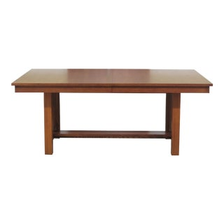 1990s Arts & Crafts Thomasville Mission Oak Dining Room Table For Sale