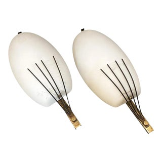 1950s Italian Mid-Century Modern Brass and Glass Wall Sconces by Arredoluce For Sale
