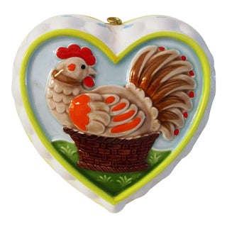 Vintage Large Rooster Ceramic Kitchen Mold For Sale