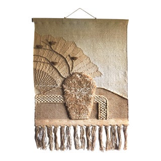 Vintage Mid-Century Still Life Tapestry Woven Wall Hanging Fiber Textile Art For Sale