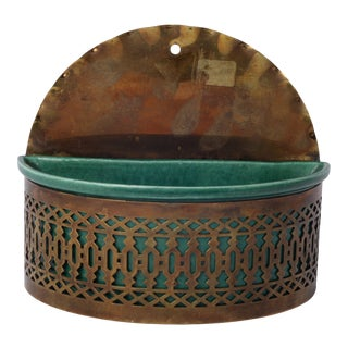 Vintage Boho Cutout Design Emerald Green Pottery & Brass Wall Pocket For Sale