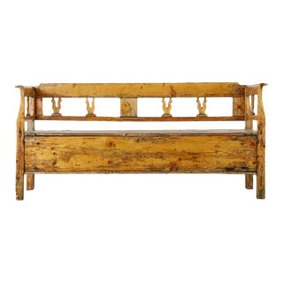 19th Century Swedish Pine Bench With Storage For Sale