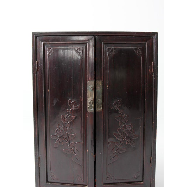 Black Antique Lacquered Asian Cabinet For Sale - Image 8 of 9