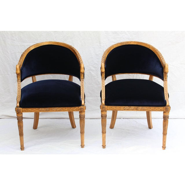 1970s Meyer Gunther Martini French Empire Chairs Rope & Swan Details Newly Upholstered - Pair For Sale - Image 5 of 9