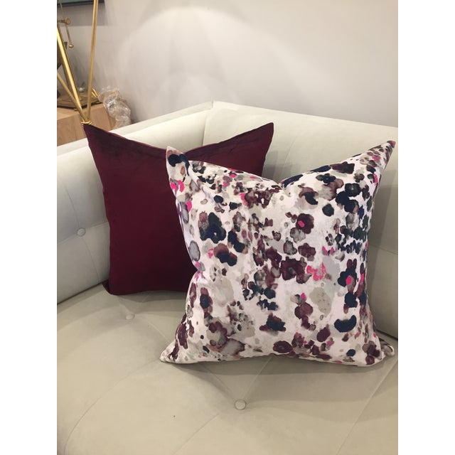 Deep Rich Burgundy Velvet Pillows - A Pair For Sale - Image 5 of 5