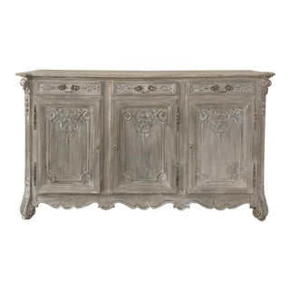 19th Century Country French Regence Whitewashed Oak Buffet For Sale