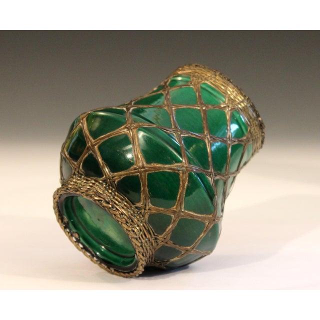 1910s Antique Awaji Pottery Bronze Wrapped Artist's Brush Pot Vase Zen Ikebana For Sale - Image 5 of 10