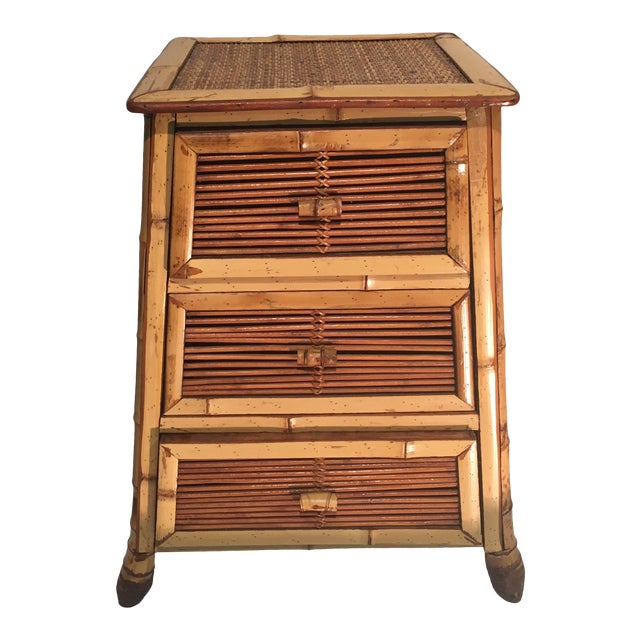 Vintage Rattan and Bamboo Nightstand For Sale