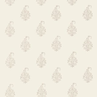Sample - Schumacher Kerala Paisley Wallpaper in Oyster For Sale