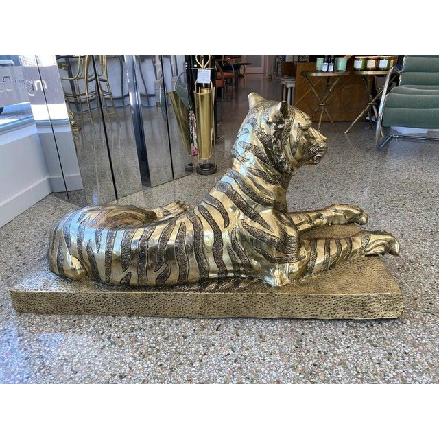 Gold Mid-Century Sculpture Bengal Tiger For Sale - Image 8 of 13