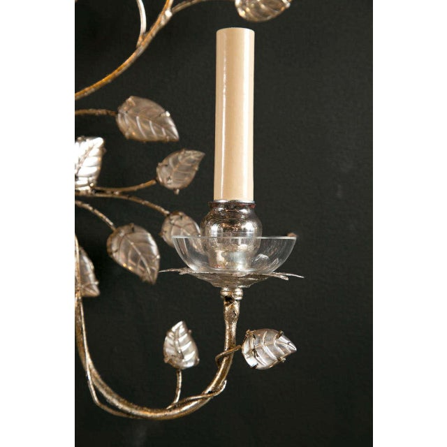 Contemporary 1930s French Silver Leaf Sconces - a Pair For Sale - Image 3 of 9