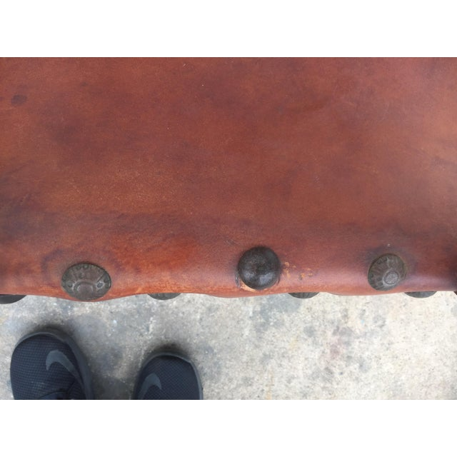 Brown Vintage Spanish Leather & Wood Chairs - A Pair For Sale - Image 8 of 9