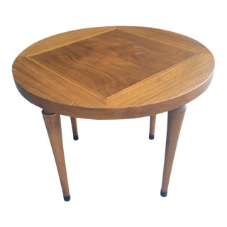 Mid-Century Two Tone Walnut Round Side Table