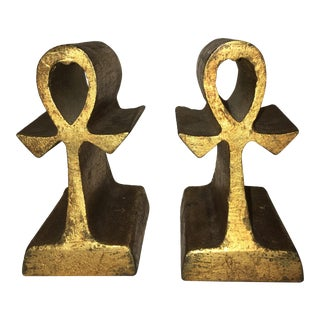 1969 Curtis Jere Mid-Century Celtic Cross Gold Leaf Bookends - a Pair